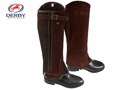 Derby Suede Leather Half Chaps w/ Zipper & Elastic - Black or Brown