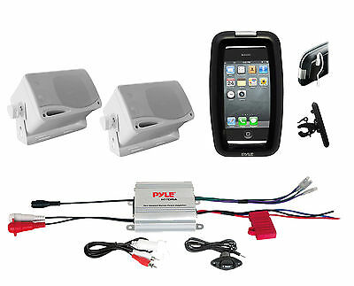 New Boat Bike ATV Outdoor Marine iPod Input Amplifier, 2 Box Speakers,Phone Case