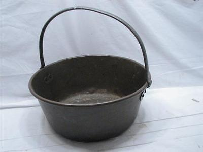Vintage Colonial Solid Brass Bucket Hand Wrought/Forged Handle Tool Kettle Pot D