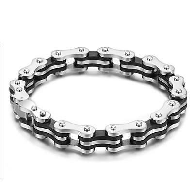 COOL MENS Silver Black Stainless Steel Motorcycle Bike Chain Charm Cuff Bracelet