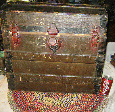 Antique Small Table Country Primitive Americana Wood Steamer Dome Trunk Chest