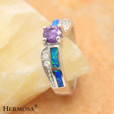 Natural Blue Fire Opal Amethyst Fashion 925 Sterling Silver Ring Size 8 NF19
