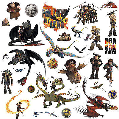 31 New HOW TO TRAIN YOUR DRAGON 2 MOVIE WALL DECALS Kids Bedroom Stickers Decor