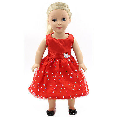 "Doll Clothes fits 18"" American Girl Handmade red Party Dress"