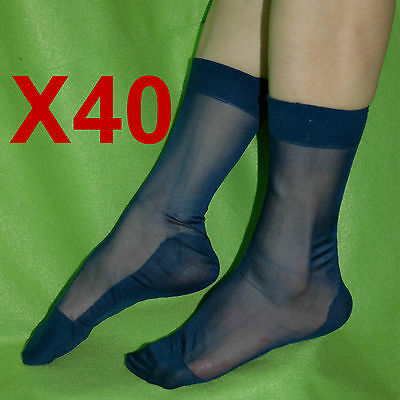 40 Pairs Of Men's Sheer Causal Dress Suit Socks Sheer See Through Soft Thin Pure