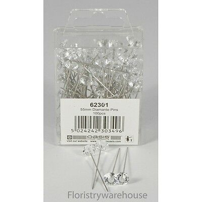10mm acrylic head diamante diamond pins by Oasis (x100)