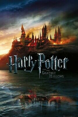 Harry Potter Deathly Hallows - Movie Poster / Print (Hogwarts On Fire)