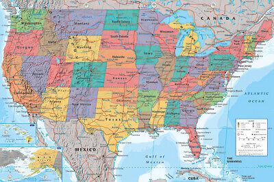 "Map Of The United States Of America - Poster / Print (Usa Map) (36"" X 24"")"