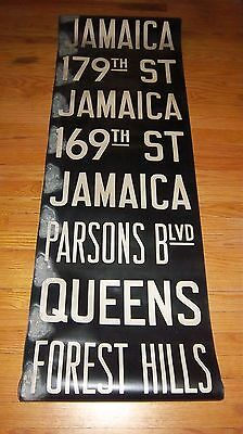 VINTAGE NYC SUBWAY R10 COLLECTIBLE ROLL SIGN BMT/IND JAMAICA QUEENS FOREST HILLS