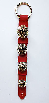Jingle Bells - Sleigh Bells - Red Leather Bell Strap W/ Solid Brass Bells