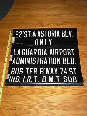 VINTAGE COLLECTIBLE NYC BUS ROLL SIGN  LA GUARDIA ASTORIA IND BMT IRT SUBWAY NY
