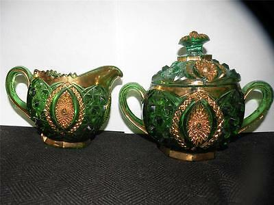 Northwood Memphis Green Pattern Glass Creamer & Sugar