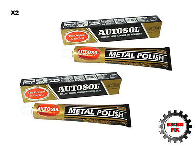 Autosol Solvol Chrome Polish Aluminium Metal Brass Steel Etc  Paste 100g Tube x2
