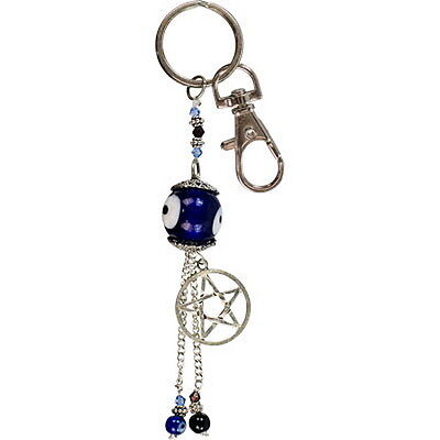 COBALT PENTACLE EVIL EYE KEY RING Wicca Pagan Witch Spiritual Goth PENTAGRAM