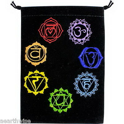 BLACK UNLINED VELVET BAG EMBROIDERED CHAKRAS Crystal Wicca Witch Pagan TAROT BAG