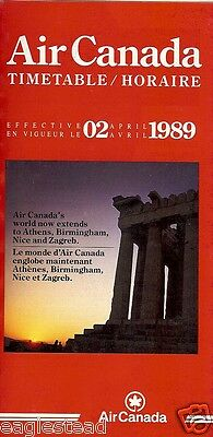 Airline Timetable - Air Canada - 02/04/89 - New to Athens Zagreb Birmingham Nice