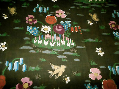 Vintage Retro French Botanical Floral Bird Butterfly Cotton Fabric~ brown