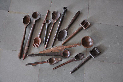 1920's Old Wooden 13 Pc Handcrafted Unique Engraved Holy Spoons , Collectible