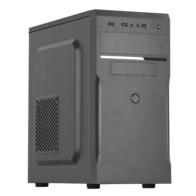 Best Value Black Micro ATX Computer PC Case With 500W PSU mATX Tower USB x2