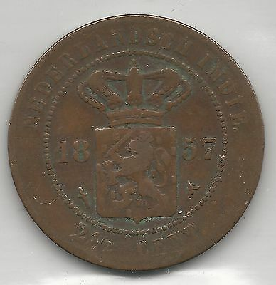 Netherlands, East Indies, 1857, 2-1/2 Cents, Copper, Km#308