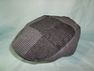 Gents Peak Black Grey Herringbone Patch Work Traditional Flat Cap Xxl Available