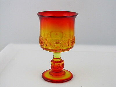 "L. G. Wright Glass Goblet, Daisy and Cube Pattern, Amberina, 6"" tall"