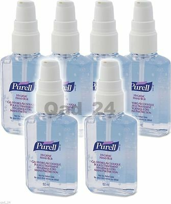 6 bottles Purell Personal Hand Sanitiser Rub Gel 60ml Travel Handbag Pocket Size