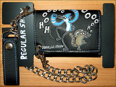 Regular Show Mordecai/Rigby Trifold Tri-Fold Chain Wallet Black CARTOON NETWORK