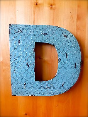 "INDUSTRIAL BLUE METAL WALL LETTER ""D"" 20"" TALL rustic vintage decor novelty sign"