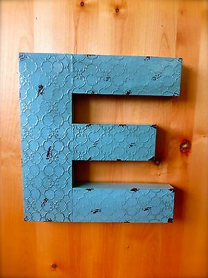 "INDUSTRIAL BLUE METAL WALL LETTER ""E"" 20"" TALL rustic vintage decor antique sign"