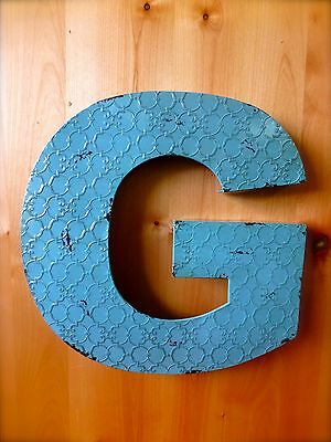 """INDUSTRIAL BLUE METAL WALL LETTER """"G"""" 20"""" TALL rustic vintage decor antique sign"""