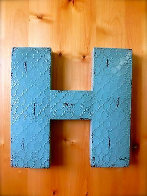 """INDUSTRIAL BLUE METAL WALL LETTER """"H"""" 20"""" TALL rustic vintage decor antique sign"""