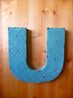 "INDUSTRIAL BLUE METAL WALL LETTER ""U"" 20"" TALL rustic vintage decor antique sign"