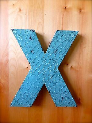 """INDUSTRIAL BLUE METAL WALL LETTER """"X"""" 20"""" TALL rustic vintage decor antique sign"""