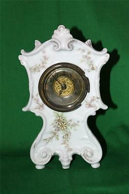 Antique Porcelain Clock Bavarian Gutherz Ornate Case British United Clock