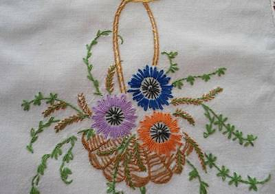 Vintage Table Runner Hand Embroidered Flower Basket Red Blue Crochet Lace