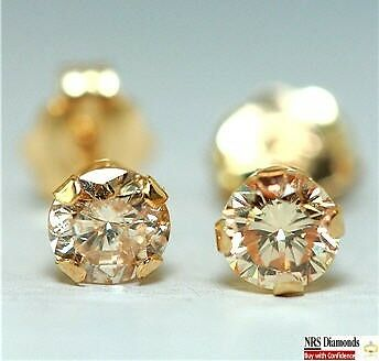 0.42 Genuine Champagne Diamond 14K 14KT Yellow Solid Gold Earrings Studs