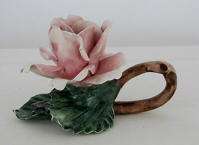 "Capodimonte Pink Rose Candle Holder with Curved Branch Handle, 3 3/4"" tall"