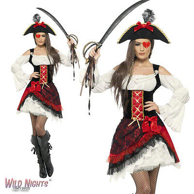 Fancy Dress Costume # Ladies Glamorous Lady Pirate Captain Size 8-18