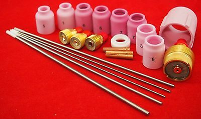 WP9.20 22Pc WL20 Alumina Gas Lens Cups Starter Kit  Bobthewelder Aussie Seller