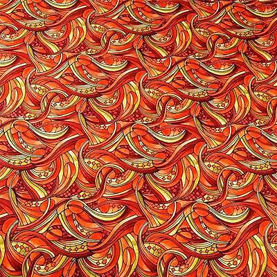 Metallic Gold with Red /& Green Slashes Cotton by Fabric Freedom Per 1//2 Yd