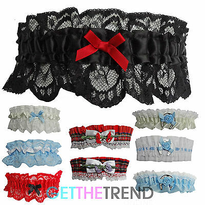 Womens Bridal Garters Ladies Ivory Cream Red Black Lace Sexy Wedding Garter