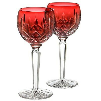 Waterford Crystal Lismore Crimson Hock Wine Glass Set Of 2