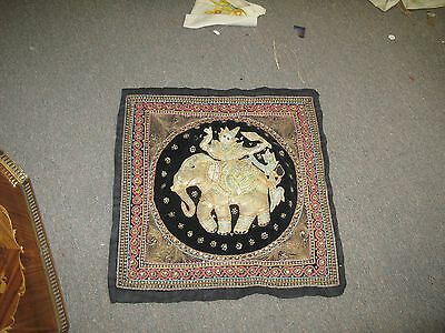 "Vintage Fine Kalaga Myanmar Burma Hand Embroidered Tapestry Sequince 19"" Square"
