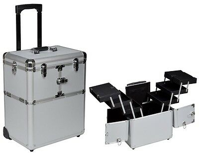 "19"" Makeup Rolling Artist Cosmetic Train Case Aluminum Beauty Silver Lock Box"