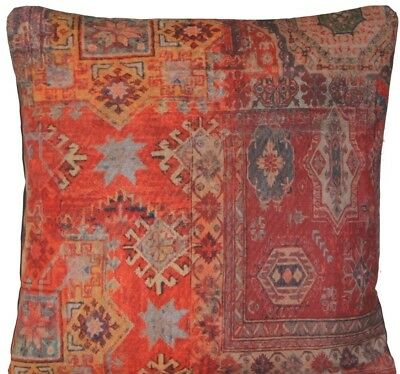 Red Rug Printed Cushion Cover Oriental  Kilim Pillow Throw Case Cotton Rusty B