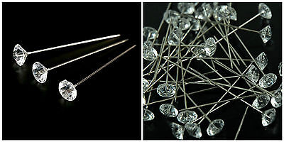 Clear Diamante / Diamonte Pins Buttonholes Weddings Bouquets Assorted Sizes ML