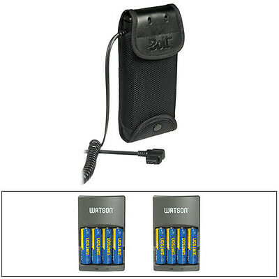 Bolt CBP-C1 Compact Battery Pack for Canon Flashes + 8 AA Batteries + 2 Chargers