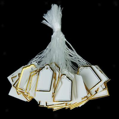 500 Pcs Gold Border White Label Tie String Tag Jewelry Watch Display Price Tags