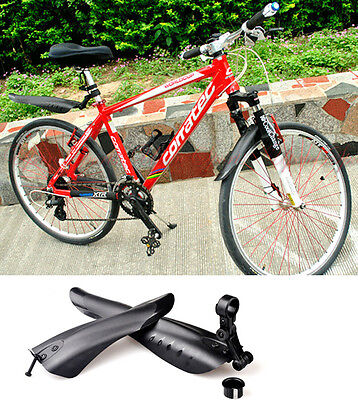 MTB Road Bike Bicycle Cycling Front Mudguard + Rear Fender Mud Guard Set Black